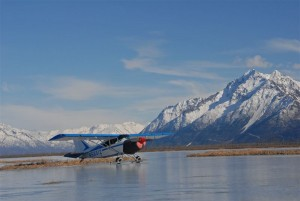 Plane lands on frozen pond