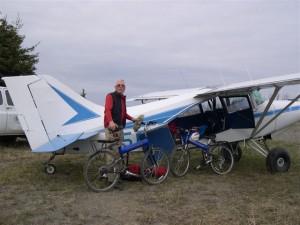 Montague folding bike in a plane