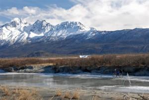 Montague folding bike on frozen river
