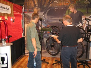 Showing the Montague Paratrooper folding bike to a new dealer
