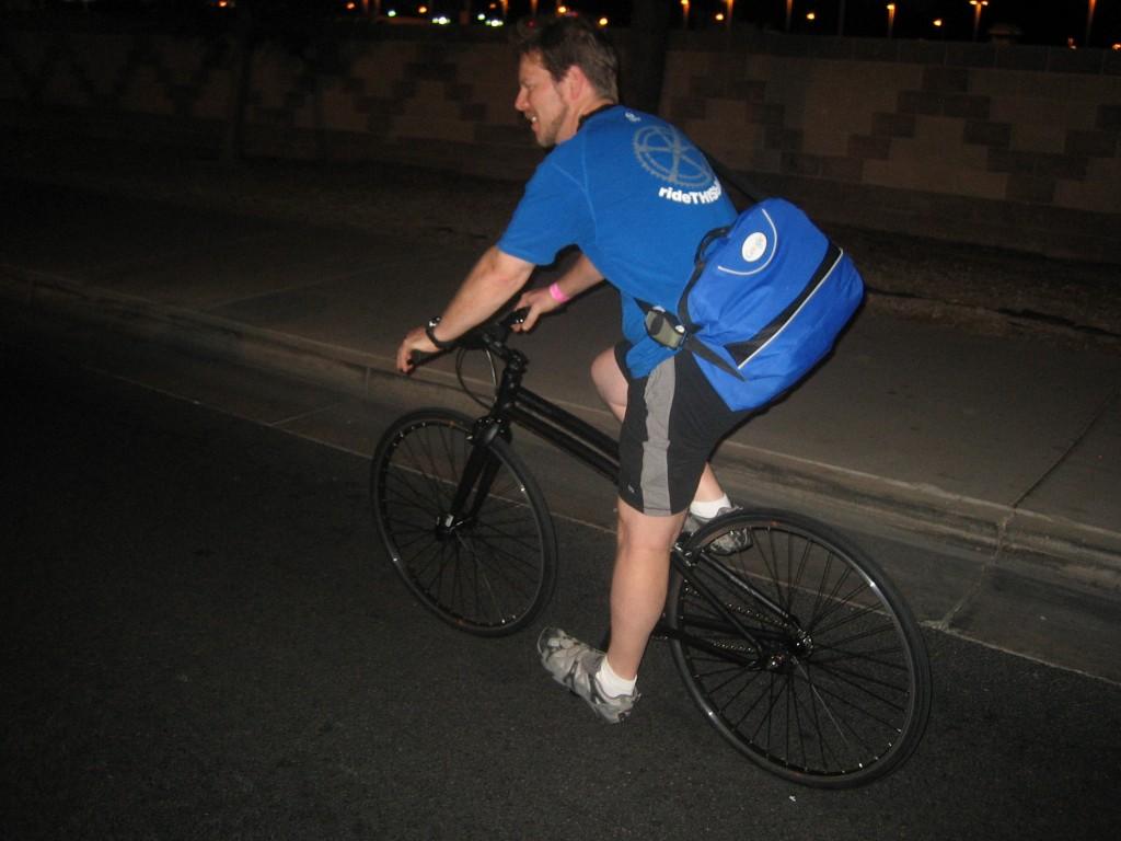 Larry from RideThisBike.com on the Montague Boston folding bike