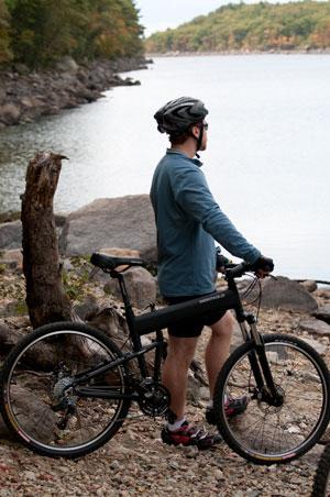 Montague folding bike overlooking pond
