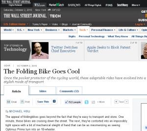 Montague folding bike featured in Wall Street Journal