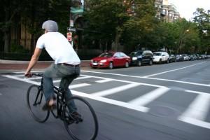 Montague Boston Folding Bike in traffic