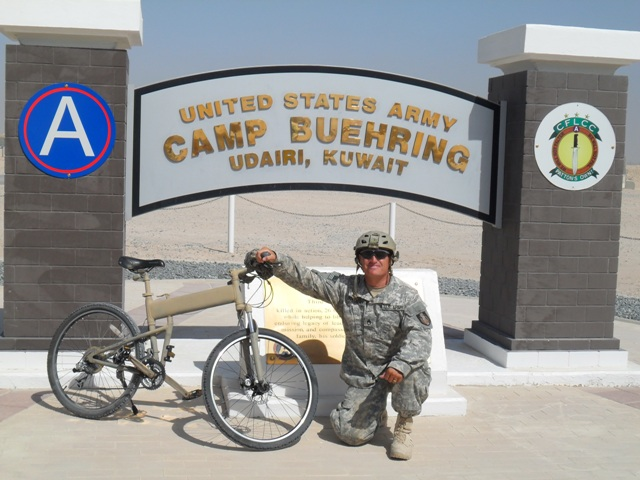 Paratrooper folding bike at Camp Buehring