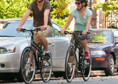 Riding a bike, such as the Montague Navigator or Fit, is an easy way to reduce traffic congestion.