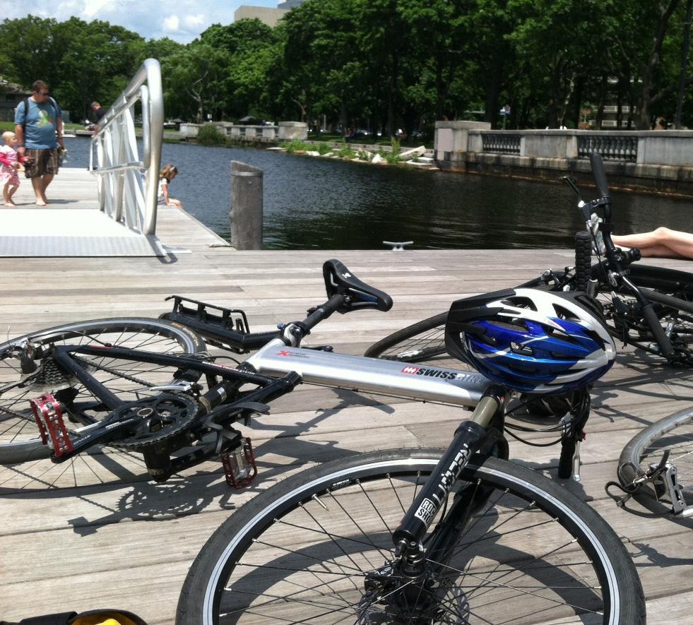 folding bikes at the Charles