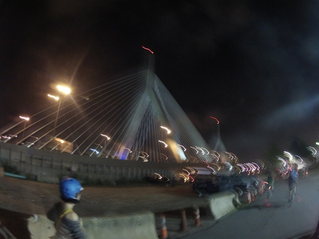 Cycling by the Zakim Bunker Hill Bridge