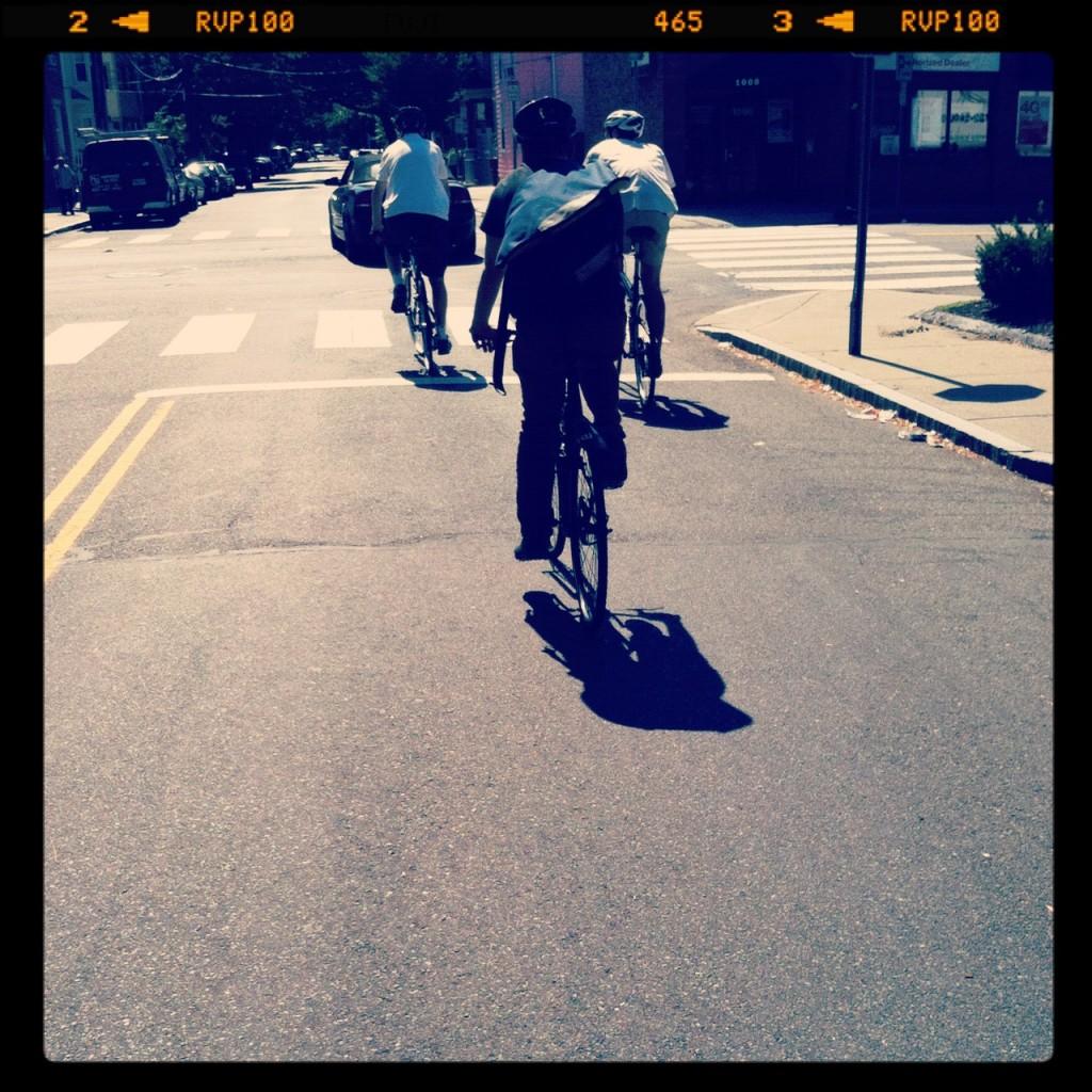 Folding bike ride through Cambridge
