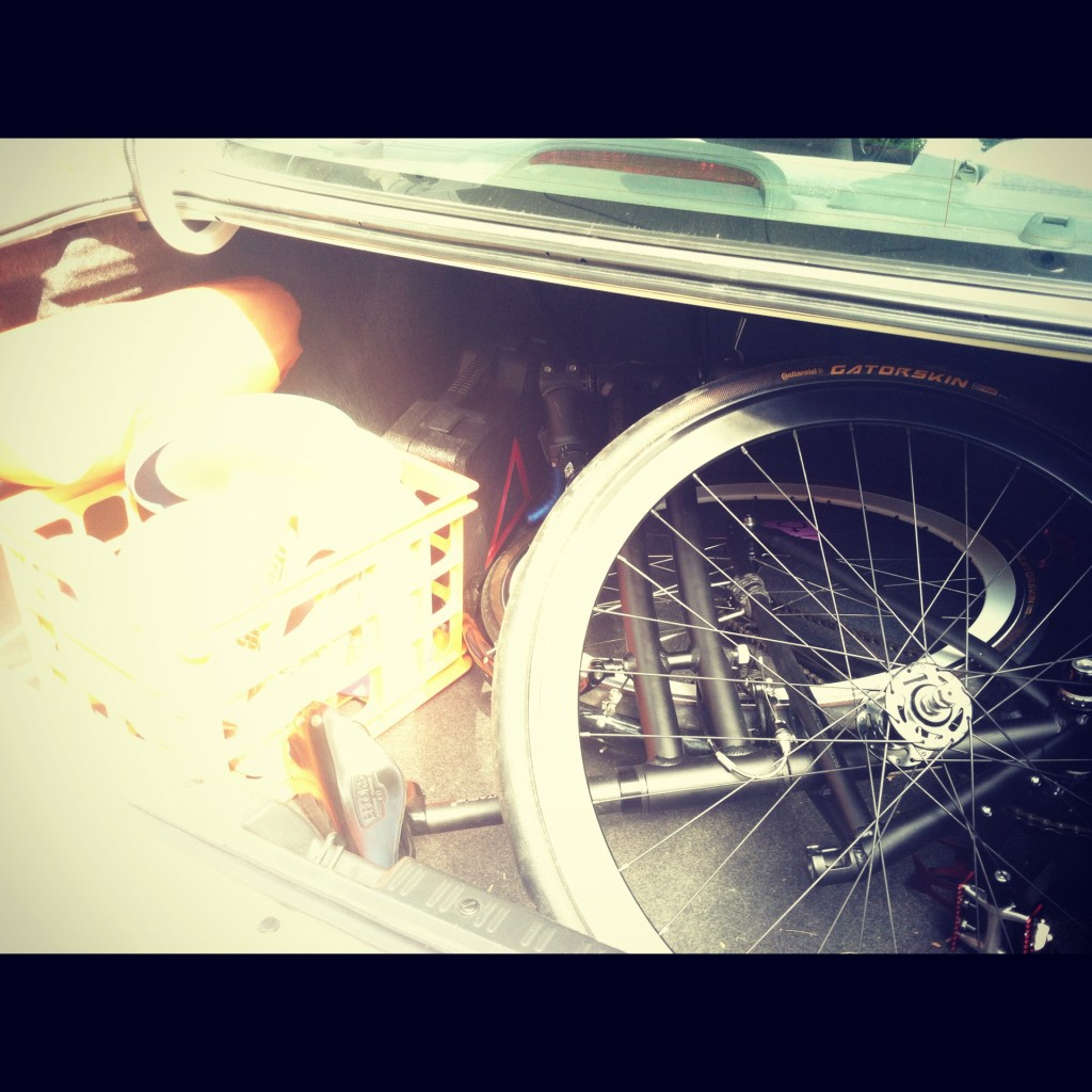 Montague folding bike in the trunk