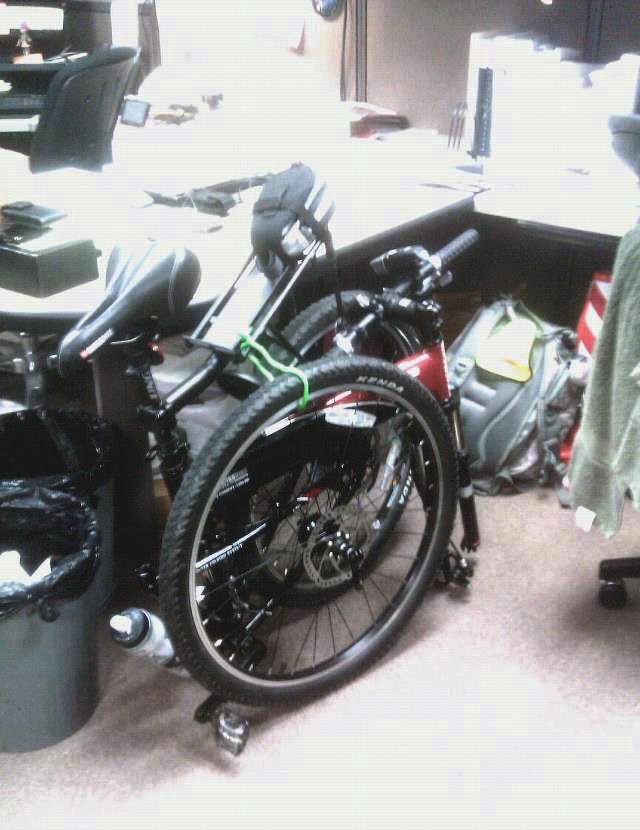 Swissbike folding MTB goes to the office