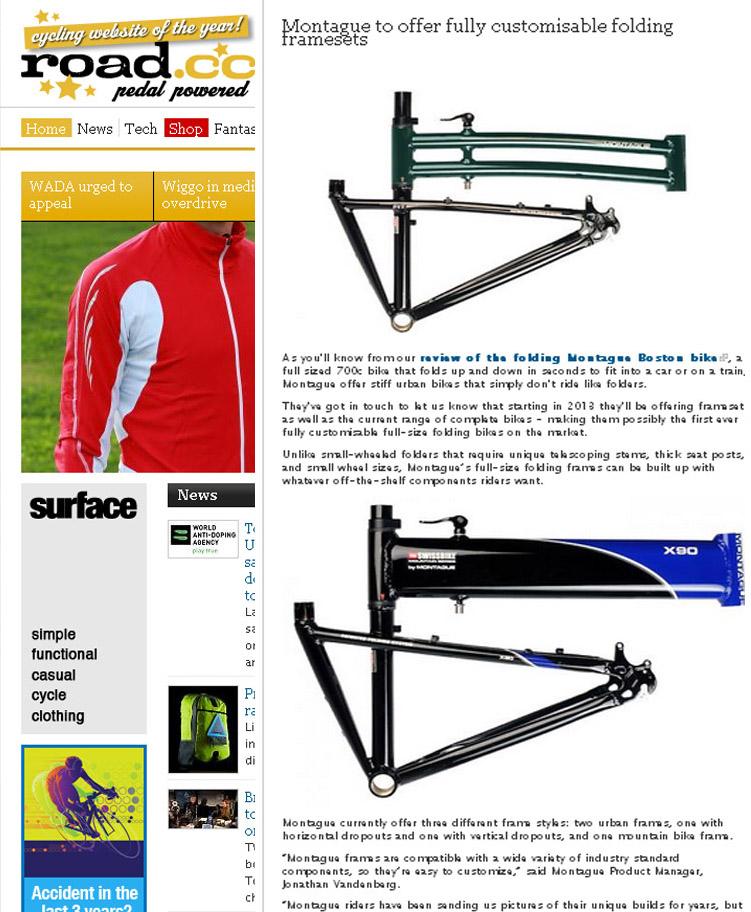 Road dot cc covers Montague's folding frame sets