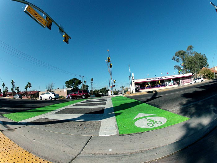 Bike commute evolves Tuscon bike crosswalk