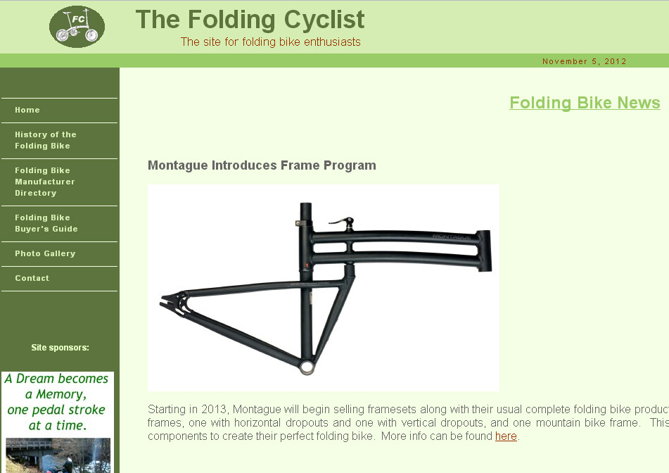 Montague folding frames on the folding cyclist