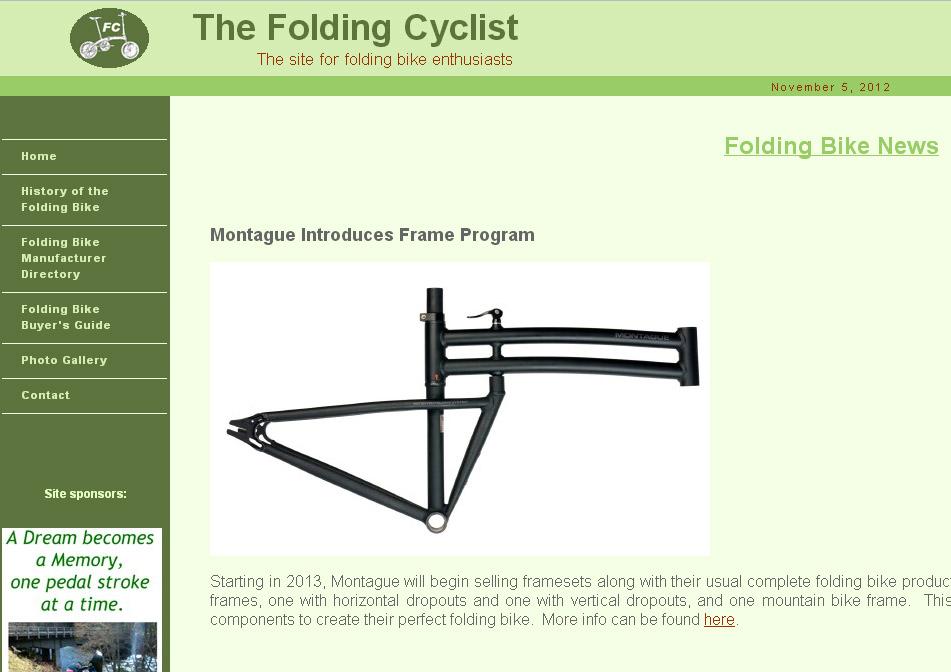 Montague folding frames on the folding cyclist