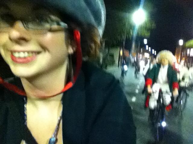 Folding bike goes on the Halloween ride