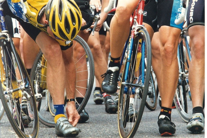Bike racers shaved legs