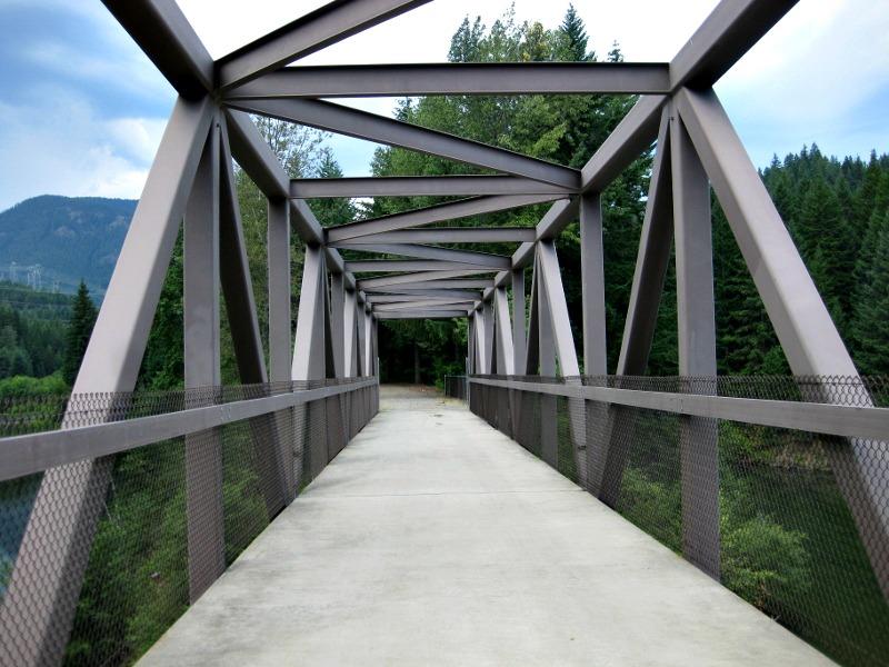 folding bike crossing bridge
