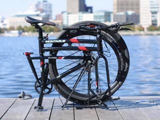 Urban folding bike near train