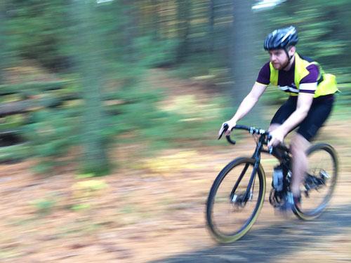 Montague Folding Bike Riding on Gravel