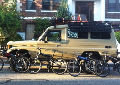 Montague X50 with other bikes along a van