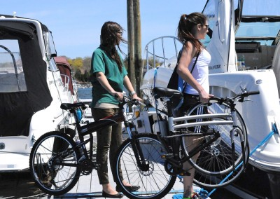 2015 Montague Crosstown and X50 folding bike on the Marina