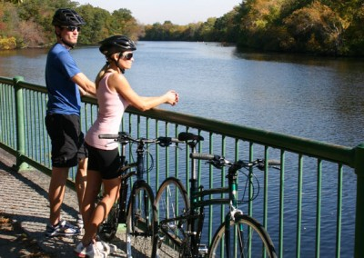2015 Montague Navigator folding bike along Charles river