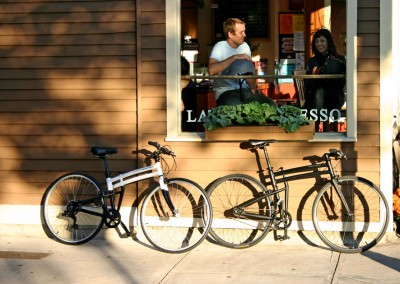 2015 Montague Boston and Crosstown folding bike against wall