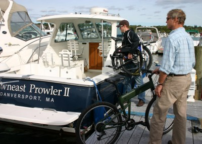 2015 Montague Paratrooper folding bike on marina