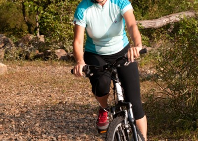 Montague X50 folding mountain bike riding in woods