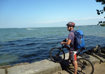 Montague X70 folding bike in front of lake michigan