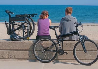 Montague X50 folding bike facing the ocean