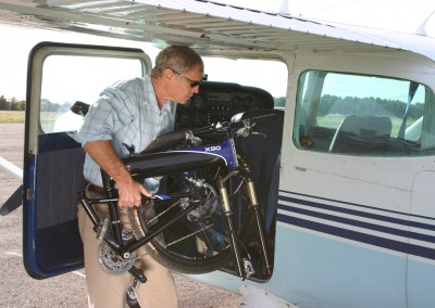 Montague X90 folding mountain bike into plane