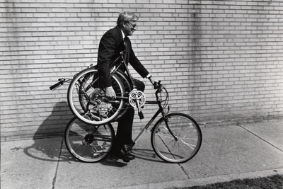 Harry Montague with Original Bi-Frame Folding Bike