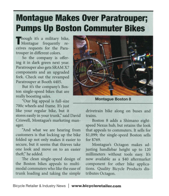 Montague in Show Daily for Boston 8