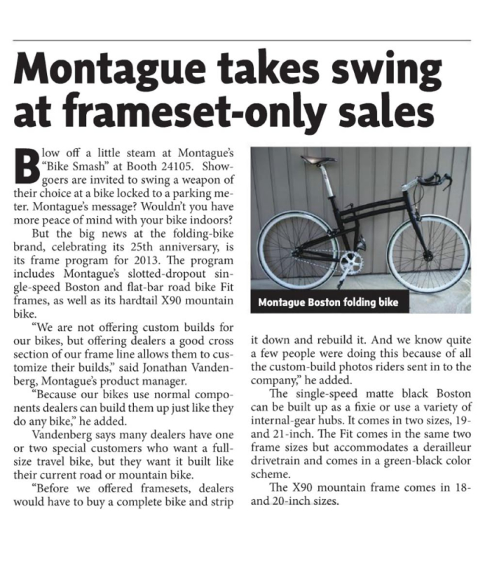 Interbike Show Daily Montague Frame Article
