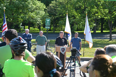 David Montague Announcing Expansion of Park&Pedal Alongside State of Massachusetts Officials