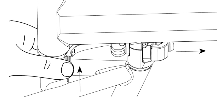 Fig. 36: Press and hold, quick release clamp opens