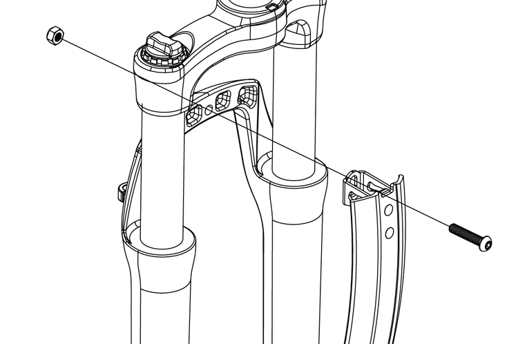 Fig. 18: Fender installation on mountain bike with non-threaded fork mount.