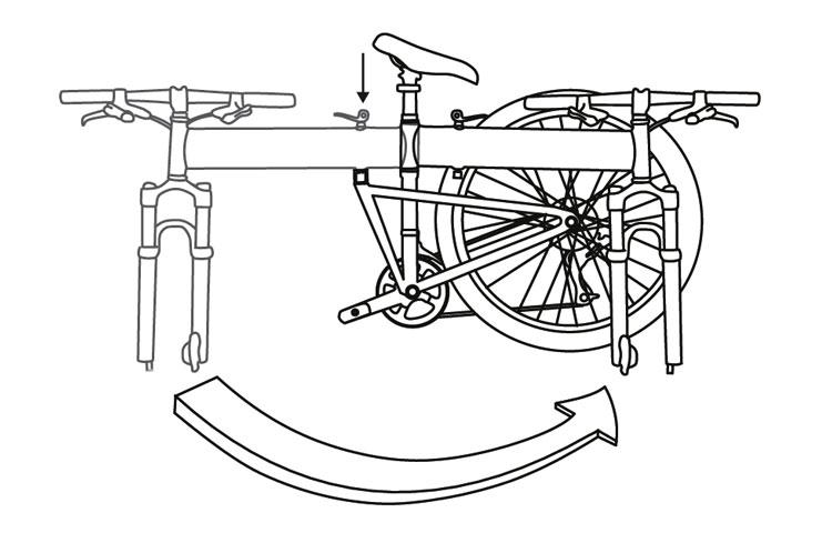 Fig. 22: Fold the bike frame in half.