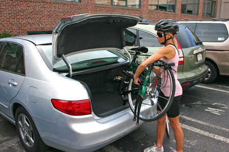 folding bike from car trunk for exercise