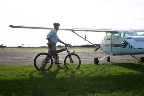 Montague Folding Bike into Private Plane