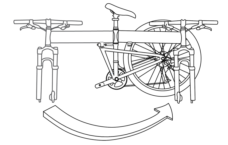 Fig. 37: Fold the bike frame in half.
