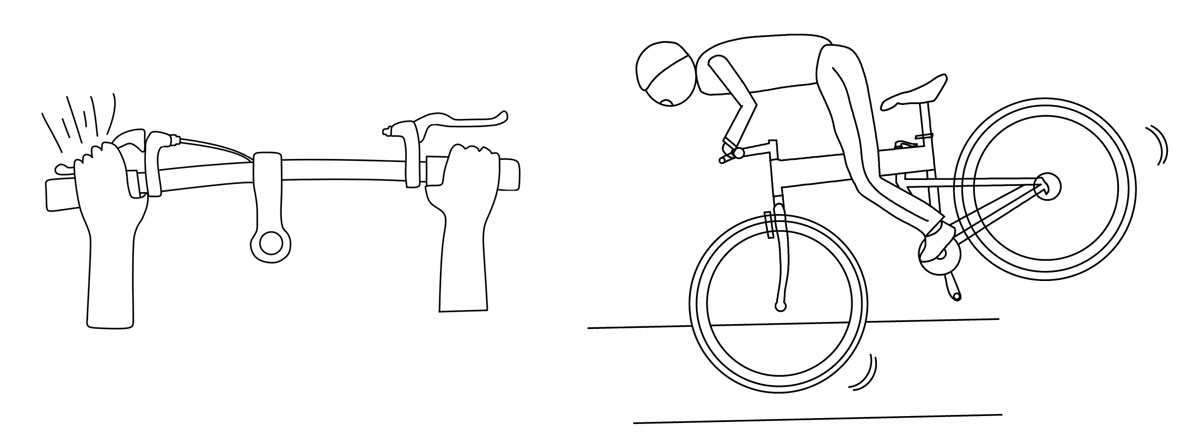 Fig 6. Using too much braking pressure on the front wheel can cause you to lose control