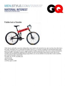 GQ Magazine Montague Bikes Feature