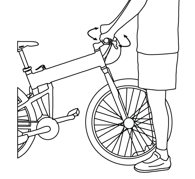 Fig. 5: Try to turn the handlebars while holding the front wheel between your knees.