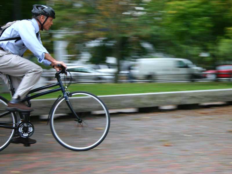 Man Commuting on Montague Navigator Folding Bike