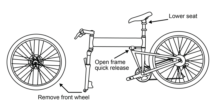 Fig. 35: Remove the front wheel & lower seat.