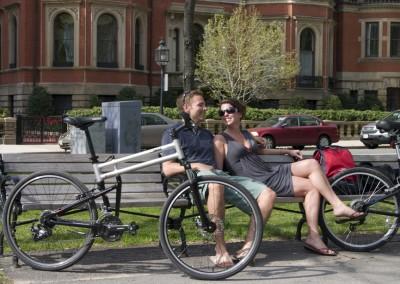 swissbike tx folding bike man and woman in city