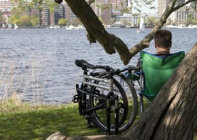 swissbike tx folding bike near river